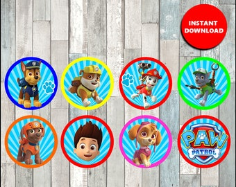 Printable Paw Patrol Cupcakes toppers instant download, Paw Patrol party Toppers, Printable Paw Patrol Toppers