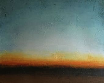 """Early Dawn I, Acrylic on Paper, 34"""" x 34"""", Modern art for home or office"""