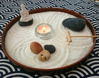 PRE ORDER round medium sized table Zen garden| round desk Zen garden | bamboo white Buddha Zen tealight decor and meditation ambient spot UK