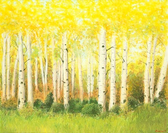 Golden Aspens Original Oil Painting on Canvas
