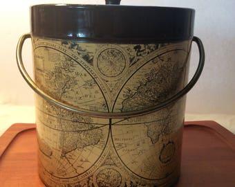 Vintage Mid Century Thermo Serv West Bend world map ice bucket with brass handle globe barware
