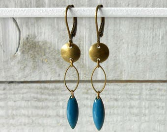 Earring bronze sequin teal enamel