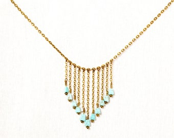 Ethnic fringe - Turquoise necklace