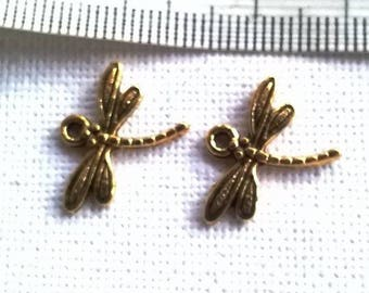 set of 2 gold metal Dragonfly charms