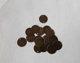 Set of 20 metal sequins bronze 12 * 12
