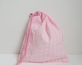 Pink pouch printed tote bag