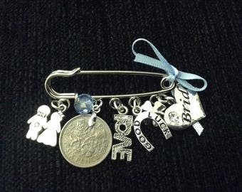 Brides bustle clip. Good luck charm. Great for hooking up your train on your wedding dress. All the charms you need for your day Brides gift