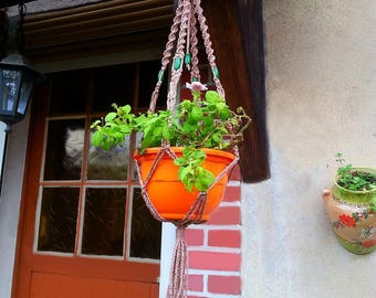 """For small plants pattern """"pottery"""" macrame wall hanging"""
