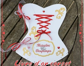Chic baroque corset red and gold guest book personalized