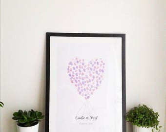Wedding guest book - heart shaped fingerprint Kit picture