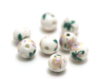 """10 pearls round 8 mm lilac """"flower"""" on white porcelain"""