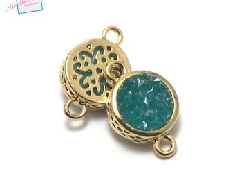 "1 Connector ""green"" puck round agate gemstone 19 x 12 x 6 mm, gold"