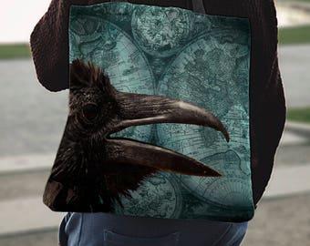 Black Bird Turquiose Canvas Tote Bag Steam Punk Trendy Modern Dark Gothic