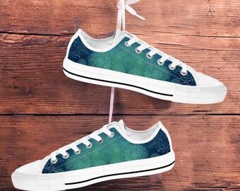 Women's Low Top Sneakers Shoes - Mandala Peace Design (Blue Turquoise)