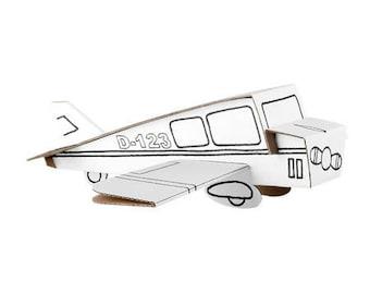 Avion à construire et à colorier avec 6 feutres inclus / Kit créatif DIY coloriage / Anniversaire enfant