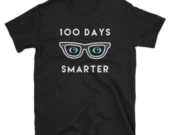 Unisex 100 Days Smarter Glasses shirt school students teachers school year school calendar great gift grammar school celebration