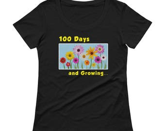 Ladies' Scoopneck 100 Days of School Pretty Flowers Shirt school students teachers school year school calendar great gift grammar principals