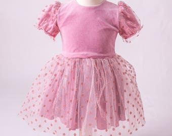 Babygirl dress, Toddler dress, Fancy dress, Pageant dress, Pink dots dress