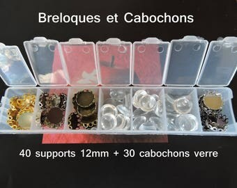 box of 40 mixed media cabochon 12 mm + 30 12 mm glass cab