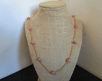 Pink & Gold chain Necklace