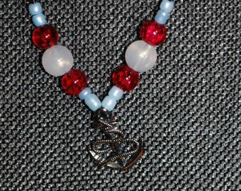 Red & White Boat Charm Necklace Ocean Anchor Silver Pendant Choker