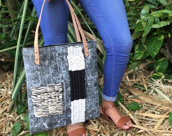 One of a Kind hand stamped Canvas Tote Bag