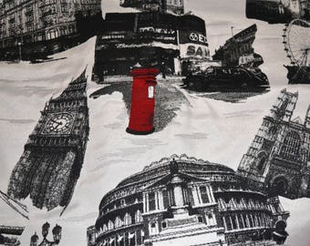 London themed upholstery fabric