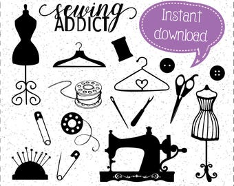 Sewing, Sewing SVGs, Sewing Addict SVG, Sewing Silhouettes, Bobbins, Buttons, Dress Form SVG, Cricut Cut File, Silhouette File