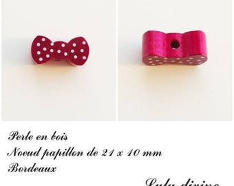 Wood 21 x 10 mm bead, Pearl flat bow tie: Bordeaux