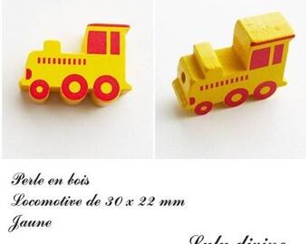 30 x 22 mm wood bead, Pearl flat Train / Locomotive: yellow