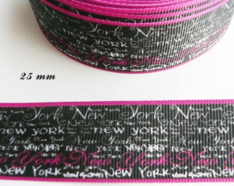 New York from 25 mm black grosgrain Ribbon sold by 50 cm