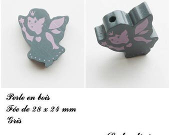 28 x 24 mm wooden bead, Pearl flat fairy: gray