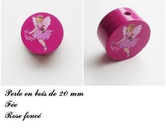20 mm wooden bead, Pearl flat fairy: dark pink