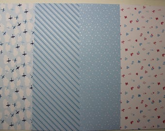 Set of 4 sheets of paper - boy Theme - 30 cm x 15 cm