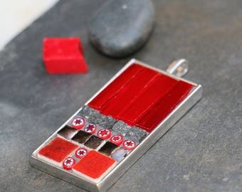Rectangular glass tile pendant, marble, terracotta and millefiori