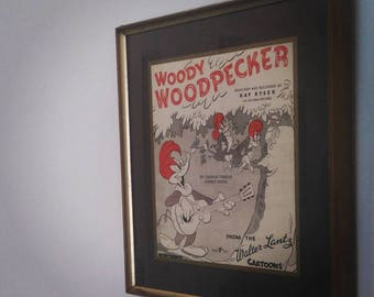 Woody Woodpecker (1948). Recycled Sheet Music Art/ Print. (FREE POSTAGE)