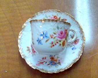 Hammersley Dresden Sprays Cup and Saucer c1900-1910