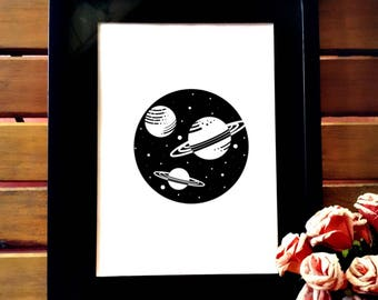 Minimalist black and white printable wall art, cute planets and Galaxy art decor