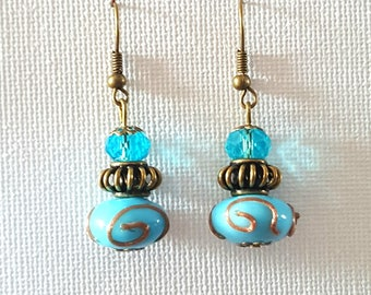 turquoise Lampwork dangle earrings
