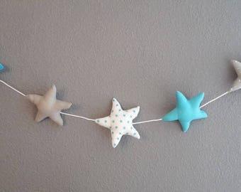 guirlande 5 étoiles décoration chambre theme turquoise gris clair et blanc