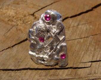 Sterling Silver sculpture, pink stone ring