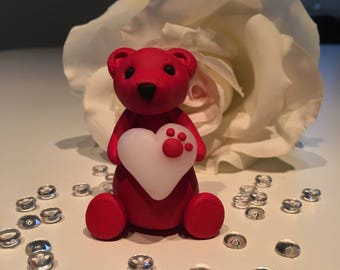 Christmas red Valentine's day teddy bear figure with translucent white heart