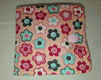 """pouch tucks barettes fabric quilted pink """"Iris"""""""