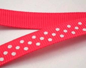 ❤1M 10 mm❤ Fuchsia/white polka dot satin ribbon