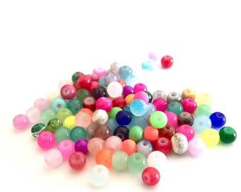 Assortment of 100 4mm glass beads
