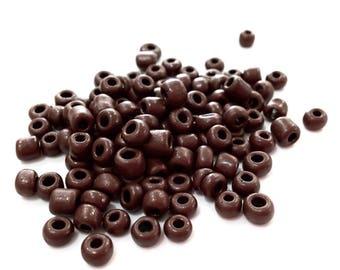 ♥ 10gr 4mm♥ coffee brown glass seed beads