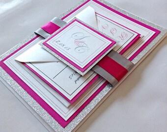 Handmade Fuschia Panel Card Wedding Invitation