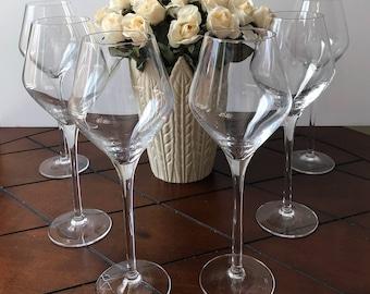Crystal stemware, Cristal D'Argues-Durand, wine glasses, Water goblets, Crystal glasses, Set of 2, Long stemmed glasses, Holiday tableware