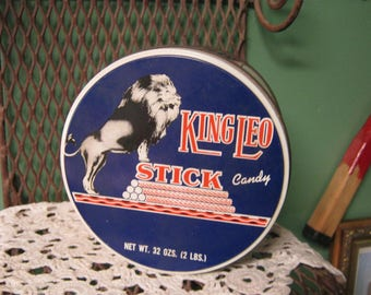 Vintage KING LEO Stick Candy Tin Standard Candy Co