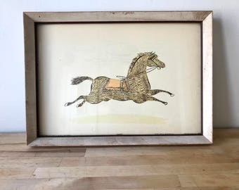 "Vintage Framed Hobby Horse Print - ""Charger"" Esther Gentle Anton Schutz"